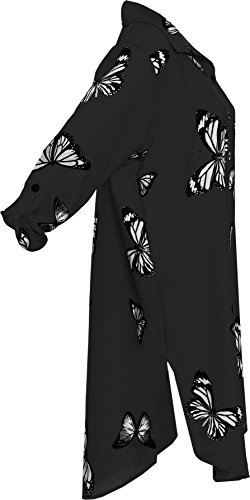 Plus C Dames Fente Papillon Chemise Haut WEARALL t 56 44 Imprimer Noir Collier Incurv Ourlet Femmes Bouton 8fHqxX5