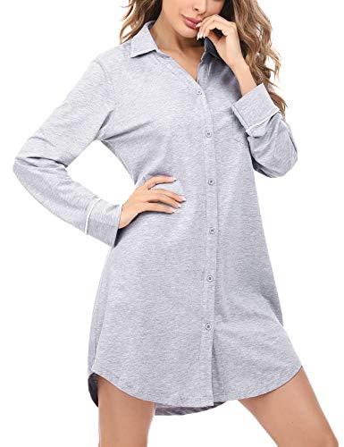 Doaraha dames nachthemd met lange mouwen katoenen knoop voorkant, v-hals vriendje slaapshirt nachtjurk kort, slaapshirt…