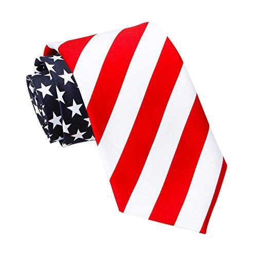 Amzcoice Classic American Flag Necktie USA Flag US Patriotic Neck Tie (169)