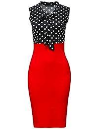 Women's Chic Color Block V-Neck Sleeveless Office Pencil Dress