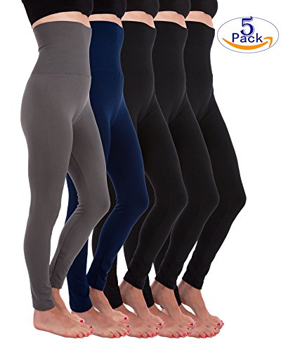 Fleece Stretch Leggings (5 Pack High Waist Fleece Lined Thick Tummy-Compression Brushed Leggings by Homma (XL/XXL, Black x3, Navy, Charcoal))