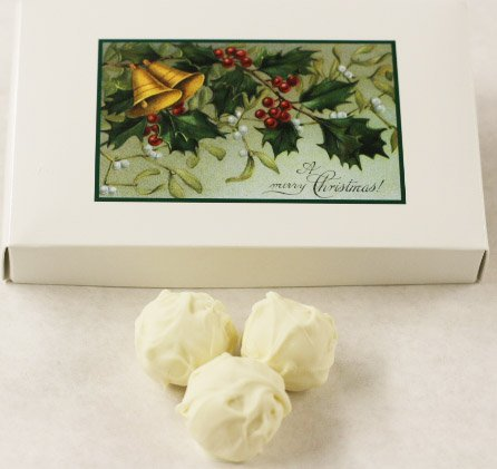 Scott's Cakes White Chocolate Covered Banana Marzipan Truffles in a 1 Pound Mistletoe Box ()