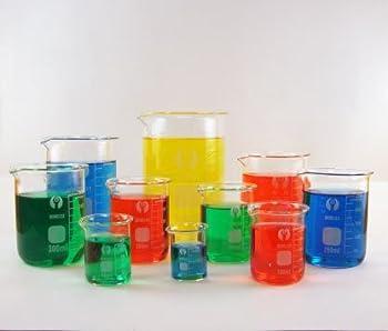 10 Piece Glass Beaker Set - 25ml, 50ml, 100ml, 150ml, 200ml, 250ml, 300ml, 400ml, 600ml & 1000ml