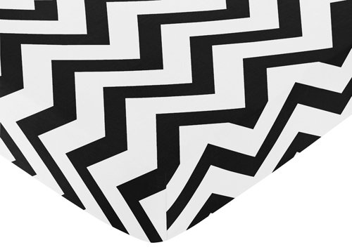 Sweet Jojo Designs Fitted Crib Sheet for Black and White Chevron Collection Baby/Toddler Bedding – Zig Zag Print