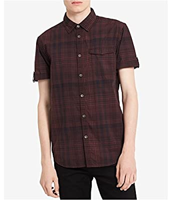 Calvin Klein Jeans Mens Short Sleeve Plaid Button Down Shirt