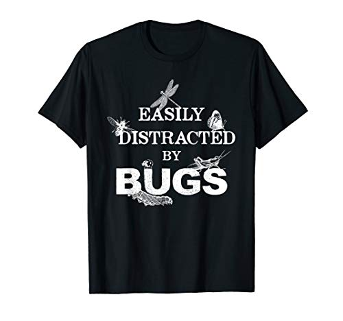 Insect lover I Get Distracted by Bugs Funny T-Shirt (Kids T-shirt Bug)