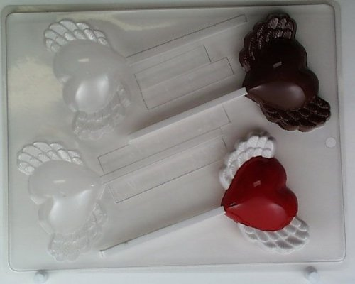 Rounded heart w/ wings V167Valentine's Day chocolate candy mold
