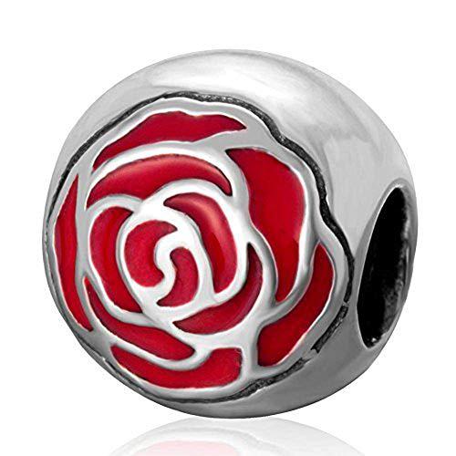 Sterling Bracelet Belle Silver (Belle's Enchanted Rose with Red Enamel 925 Sterling Silver Charms Bead for European Bracelet)