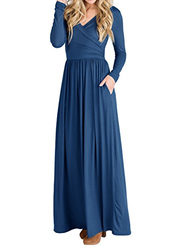 Womens Casual Waist JOYCHEER Dresses Empire Long Sleeve Blue Formal Maxi Navy Dress Wrap Spring dwzzC0pqx