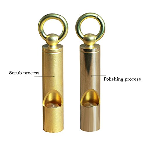 Hxst Portable Brass Whistle with Key Ring,Emergency Whistle,Survival Whistle,Perfect EDC Tool