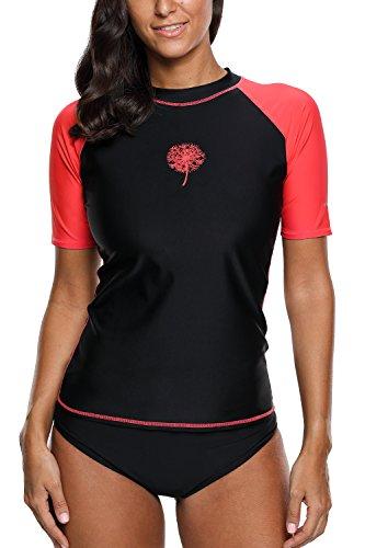 Womens Short Sleeve Rash Guard - Sociala Womens Short Sleeve Rashguard Swim Shirt UPF Rash Guard Swimwear L Black