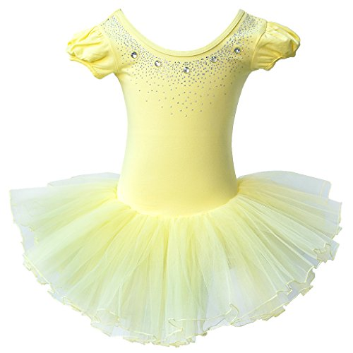 - 41XcgrBzPLL - BAOHULU Kids Leotards Dance Short Sleeve Rhinestone Ballet Tutu Dress Little Girls 3-8 Years