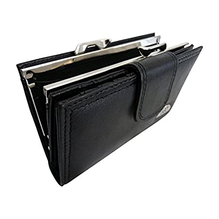 Ladies Real Leather Purse – Large Metal Clasped Coin Section – Separate 8 Debit or Credit Card Spaces Button Closure- 2 Bank Note Sections – Medium Size Purses – Photo Page – Black Leather – QL439K 41Xch2YhzUL