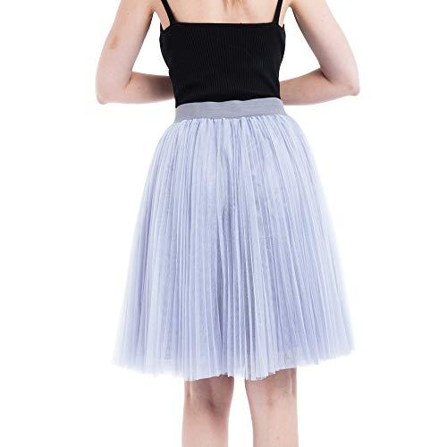 Skirt Principessa waist Donna Sciolto Abito Sexy Grigio Mini Polpqed Strati GonnaEstate 4 Pieghe Moda Mesh High Bubble Elegante Colore Puro Casuale lT31JFuKc
