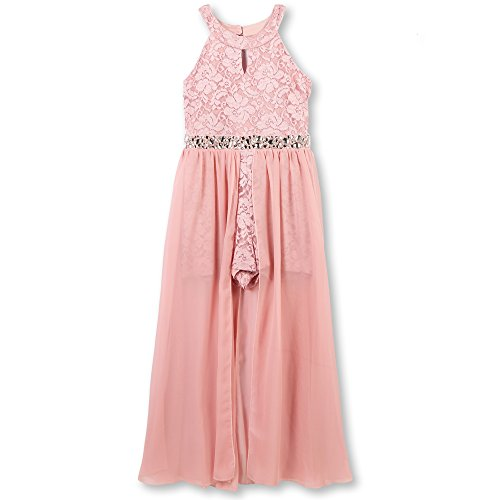 Speechless Girls' Big High Neck Maxi Romper Dress, New Mauve, 16