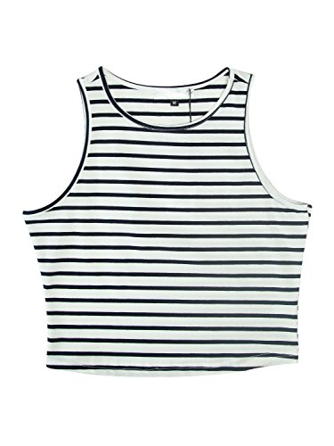 PERSUN Womens Summer Basic Black Striped Cut Away Crop Tank Top,Small