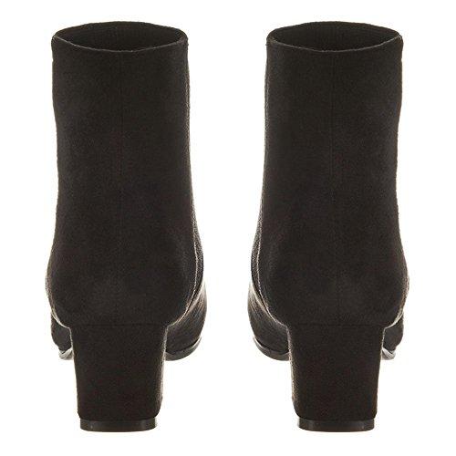 EILEEN. Knitted Side Panel Block Heel Ankle Boot BLACK SUEDETTE pF5kMY9
