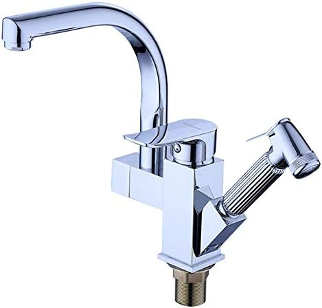 Zxyan 蛇口 立体水栓 キッチンタップキッチン蛇口とシンクの蛇口単穴シンクシンクすることができ回しホットとコールドキッチン蛇口を引き出しスプレーガン トイレ/キッチン用
