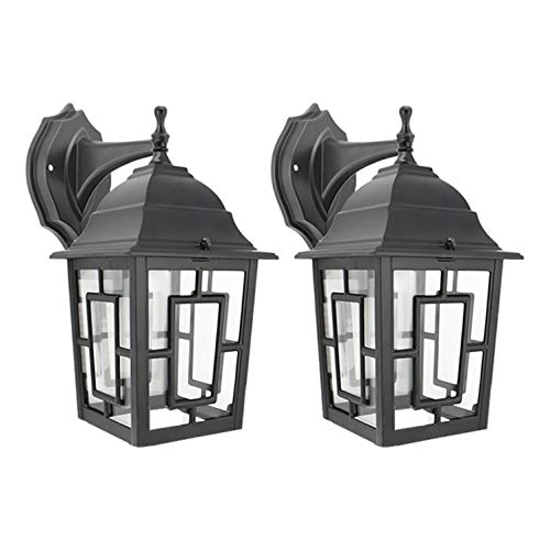 Outdoor Housing Wall - IN HOME One-Light Outdoor Wall Down Lantern, Exterior Light Fixtures with One E26 Base, Wet Rated, Black Matte Finish Cast Aluminum Housing with Clear Glass Shade, ETL Listed, Twin Pack