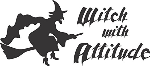 Barking Sand Designs Witch with Attitude Halloween Matte Black - Die Cut Vinyl Window Decal/Sticker for Car/Truck