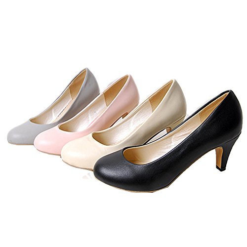 Nonbrand Women's Kitten Heel round toe pumps high heels shoes Black lxJjA30