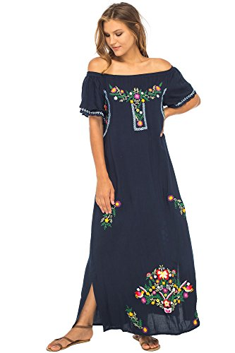 Embroidered Maxi - Back From Bali Womens Long Mexican Embroidered Dress, Maxi Long Summer Peasant Dresses for Women Off The Shoulder Navy X-Large