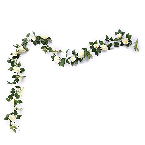 Aurdo Artificial Rose Vine Flowers with Green Leaves 7.5ft Fake Silk Rose Hanging Vine Flowers Garland Ivy Plants for Home Wedding Party Garden Wall Decoration (Cream)