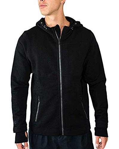 Woolx Mens Grizzly Full Zip Merino Wool Hoodie For Extreme Warmth, Black, X-Large