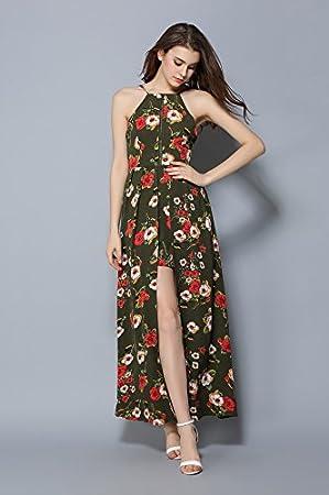Huihuger Vestido Sexy sin Tirantes, Manga Larga, Hombro Colgante, Estampado Floral, Estilo