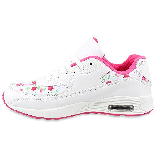 Stiefelparadies Flache Damen Laufschuhe Profilsohle Bequeme Sportschuhe Flandell Weiss Pink