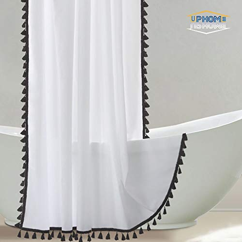 - Uphome Tassel Shower Curtain, White Fabric Shower Curtain with Black Fringe Trims, Vintage Boho Chic Cloth Shower Curtains for Bathroom Showers, 72 x 72