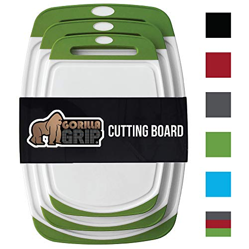 Cutting Boards Colored (GORILLA GRIP Original Reversible Cutting Board (3-Piece), BPA Free, Dishwasher Safe, Juice Grooves, Larger Thicker Boards, Easy Grip Handle, Non Porous, Extra Large, Kitchen (Set of Three: Green))