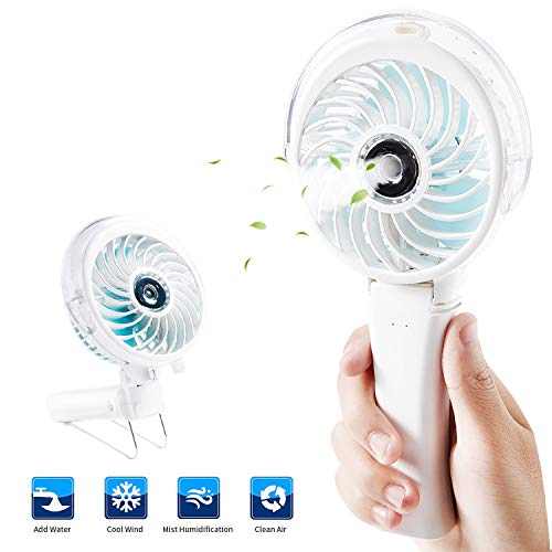 Handheld Misting Fan,Portable Spray Mist Hand Fan,Mister Water Personal Fan,Desk Fan Cooling Humidifier with Colorful Night Light, Rechargeable Battery Operated-USB Powered for Travel (T Mister Patio)