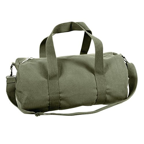 Sports Gym Shoulder Canvas Sport Shoulder Duffle Bag with Strap 19'' x 9'' (Color: Olive Drap)