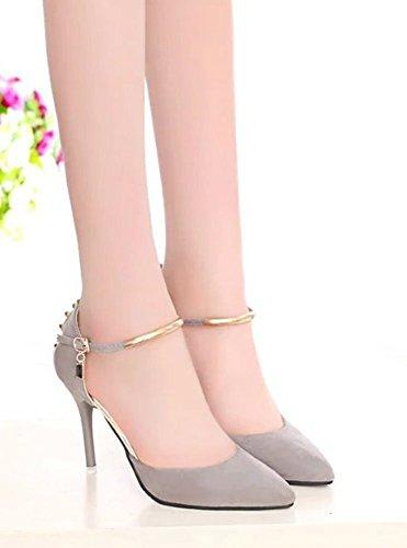 Easemax Donna Elegante Stiletto Rivetto Fibbia Cinturino Alla Caviglia Scarpe A Punta Tacco Alto Scarpe Grigie