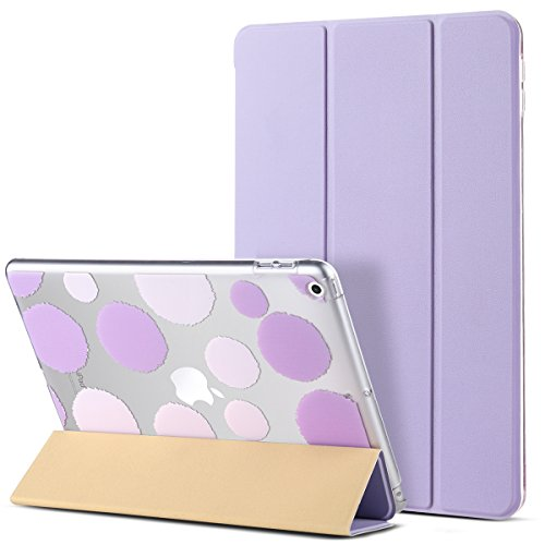 iPad 2017 iPad 9.7 inch Case, ULAK Slim Lightweight Smart Case Trifold Stand with Auto Sleep/Wake Function, Microfiber Lining, Hard Back Clear Polka Dot Cover for Apple iPad 9.7-inch 5th Gen, Lavender