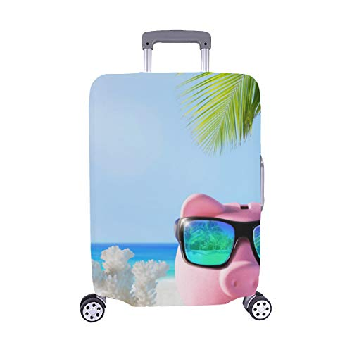 Piggy Bank Drink On Palm Beach Pattern Spandex Trolley Case Travel Luggage Protector Suitcase Cover 28.5 X 20.5 Inch (Piggy Bank Dolphins)