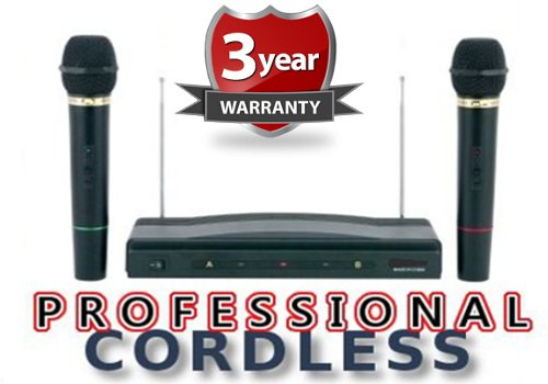 RoyalFX Dual Handheld Wireless Microphone Kit with Wireless FM Receiver (Extended Signal Range)