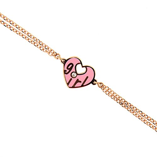 18K Pink Gold Diamond Pink Ceramic Heart Bracelet with the word GIRL by Amalia