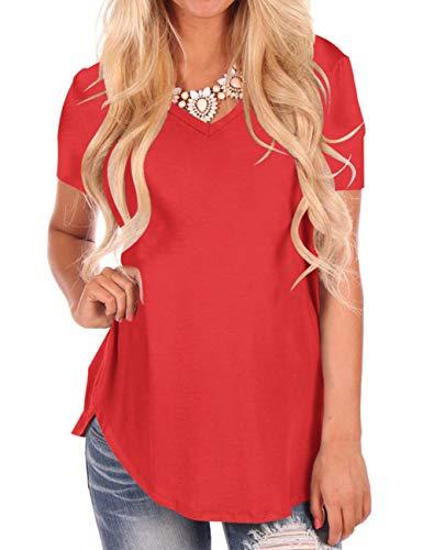 Women Irregular Hem Tee Shirts Plus Size Red S