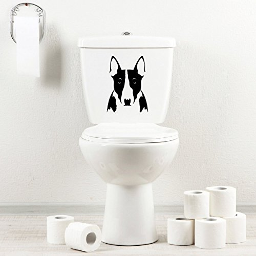 StickAny Bathroom Decal Series Bull Terrier Sticker for Toilet Bowl, Bath, Seat (Black)