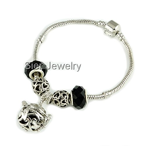 Sier Vine Aromatherapy Perfume Essential Oil Diffuser Bracelet Locket With Lava Stone (Black) (Oil Sier)