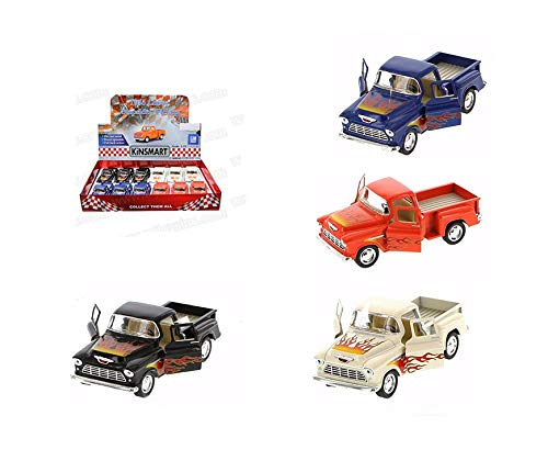 (New DIECAST Toys CAR KINSMART 1:32 Display 1955 Chevrolet Step-Side Pickup with HOT Rod Flames Set of 4 Color KT5330DF)