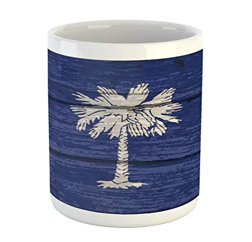 Lunarable South Carolina Mug, State Flag Palm Tree Moon Pattern on Rustic Wooden Background, Printed Ceramic Coffee Mug Water Tea Drinks Cup, Dark Lavender and Dust