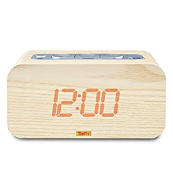 TinyFin Wood Grain Digital Alarm Clock Thermometer Celsius Fahrenheit Adjustable light