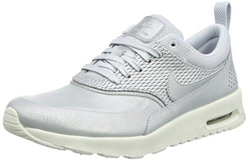Femme Leather NIKE Metallic Thea Platinum Platinum Pure Max Sneakers Air Basses Argent Premium v6q6fA0