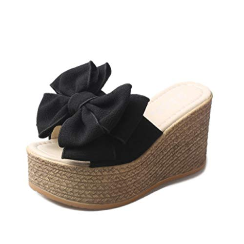 RonKite High Platform Wedge Heel Slippers Bohemian Summer Beach Sandals for Women Arch Support Height Boost Slides Shoes