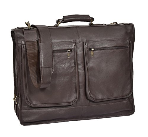 Real Leather Suit Dress Carrier Travel Weekend Clothing Garment Bag Canico Brown