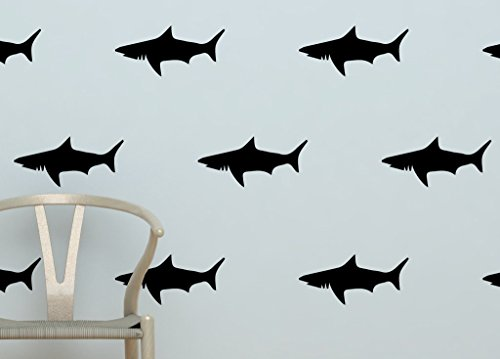 Set Shark Decals Removable Silhouettes