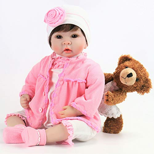 Aori Reborn Baby Girl Doll Realistic Weighted Baby Doll for Girls Children Gift 22 Inch with Brown Teddy